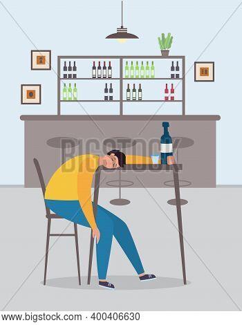 Drunk Man Cartoon Character Asleep In The Bar Flat Vector Illustration.