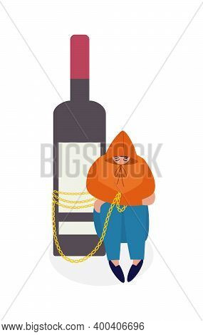 Drunk Depressed Person With Alcohol Addiction A Vector Isolated Illustration