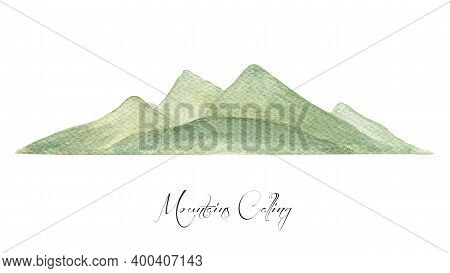 Green Mountains View. Watercolor Hills Landscape Illustration