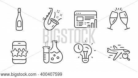 Search Flight, Champagne And Champagne Glasses Line Icons Set. Chemistry Flask, Time Management And