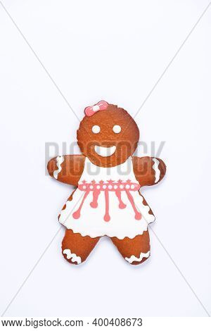 The Hand-made Eatable Gingerbread Little Man On White Background