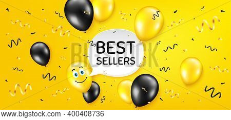 Best Sellers. Balloon Confetti Vector Background. Special Offer Price Sign. Advertising Discounts Sy