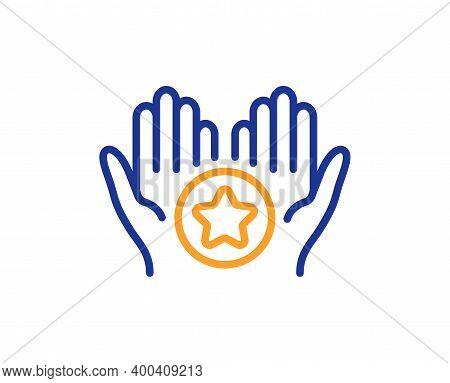 Favorite Line Icon. Best Ranking Stars Sign. Rating Symbol. Quality Design Element. Line Style Favor