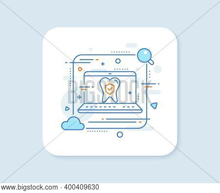 Dental Insurance Line Icon. Abstract Vector Button. Oral Medicine Risk Coverage Sign. Teeth Care Sym