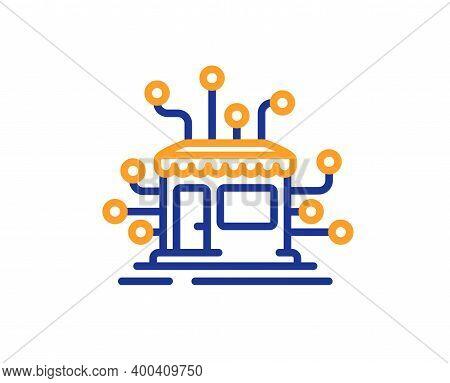 Distribution Network Line Icon. Market Store Sign. Marketplace Warehouse Symbol. Quality Design Elem