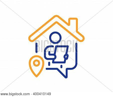 Work At Home Line Icon. Freelance Job Sign. Remote Office Employee Symbol. Quality Design Element. L