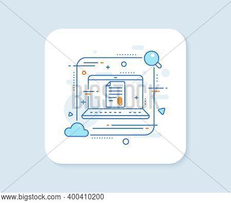 Cv Attachment Line Icon. Abstract Vector Button. Document File Symbol. Attachment Line Icon. Laptop