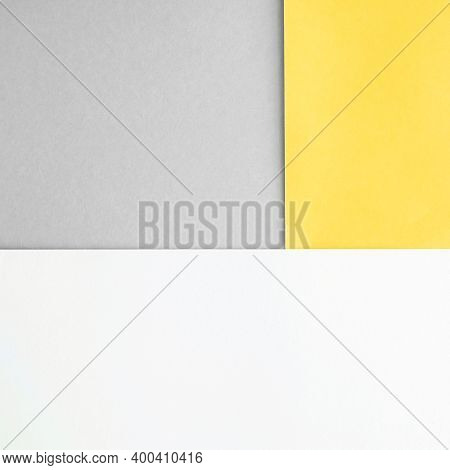 Geometric Square Background. Abstract Geometric Background. Popular Colors Of 2021 Gray And Yellow.