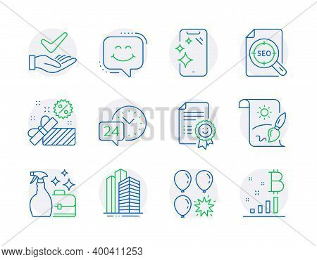 Business Icons Set. Included Icon As Cleanser Spray, Creative Painting, Smile Signs. Sale, Smartphon