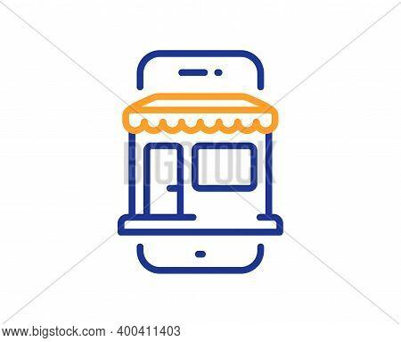Marketplace App Line Icon. Online Store Sign. Retail Phone Application Symbol. Quality Design Elemen