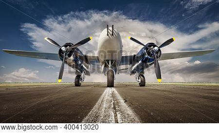Historical Bomber Plane Against A Dramatic Sky