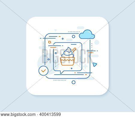 Ice Cream Cup Line Icon. Abstract Vector Button. Vanilla Sundae Sign. Frozen Summer Dessert Symbol.