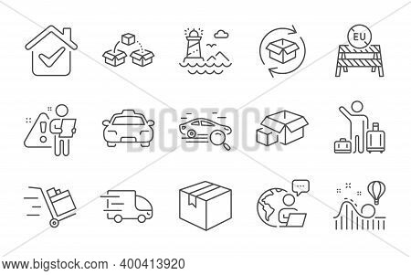 Return Parcel, Parcel Shipping And Lighthouse Line Icons Set. Truck Delivery, Packing Boxes And Taxi