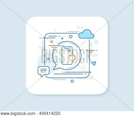 Smartphone Recovery Line Icon. Abstract Square Vector Button. Phone Backup Sign. Mobile Device Symbo