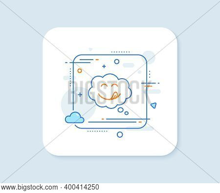 Yummy Smile Line Icon. Abstract Square Vector Button. Emoticon With Tongue Sign. Comic Speech Bubble
