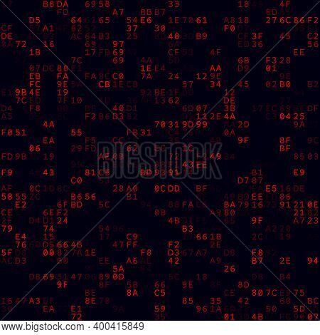 Abstract Matrix Background. Red Sparse Hexademical Pairs Background. Medium Sized Seamless Pattern.