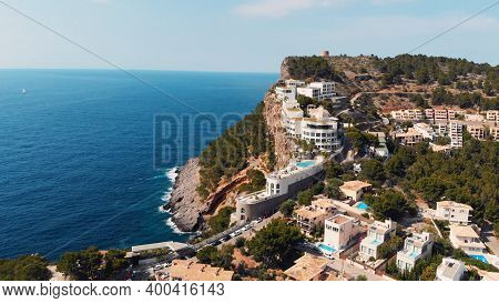 Aerial View Of Port De Soller Rooftops, Mallorca, Spain. High Quality Photo