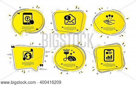 Consolidation, Vacuum Cleaner And Swipe Up Icons Simple Set. Yellow Speech Bubbles With Dotwork Effe