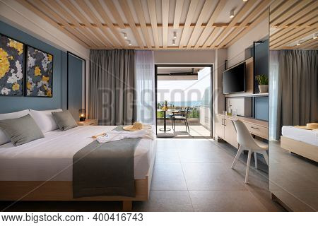 Side View Of Modern Loft Style Bedroom With Metal Details, Wooden Furniture, Abstract Decor. Hotel A