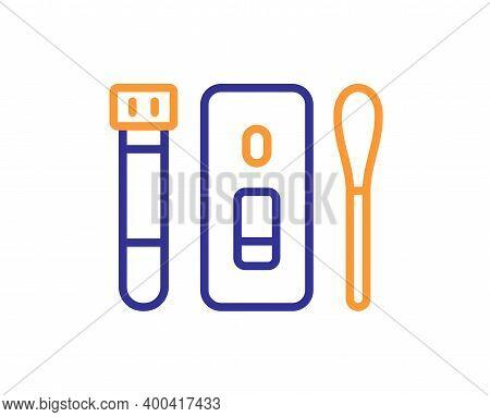 Nasal Swab Test Line Icon. Coronavirus Testing Sign. Covid Test Tube Symbol. Quality Design Element.