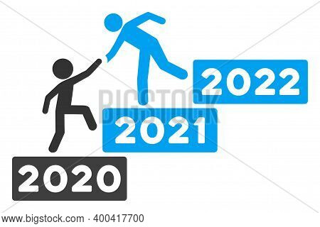 Vector 2022 Buisiness Training Stairs Illustration. An Isolated Illustration On A White Background.