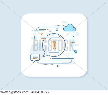 Attach Document Line Icon. Abstract Square Vector Button. Information File Sign. Paper Page Concept