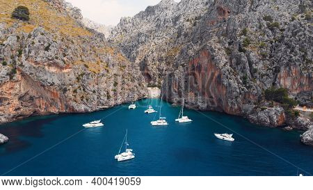 Serra De Tramuntana, Sa Calobra, Torrent De Pareis Beach, Aerial , Crystal Clear Water Of Mediterran