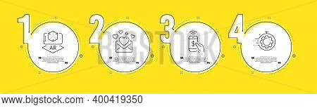 Augmented Reality, Phone Payment And Love Mail Line Icons Set. Timeline Process Infograph. Seo Timer