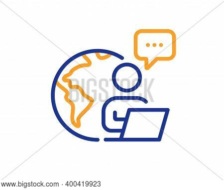 Outsource Work Line Icon. Freelance Job Sign. Remote Employee Symbol. Quality Design Element. Line S