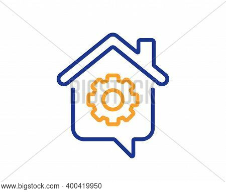 Work At Home Line Icon. Outsource Job Sign. Remote Office Symbol. Quality Design Element. Line Style