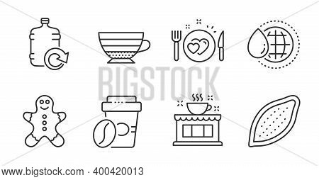 Cappuccino, Coffee Shop And Romantic Dinner Line Icons Set. World Water, Takeaway Coffee And Gingerb