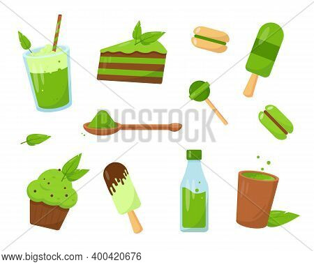 Set Of Matcha Desserts. Ice Cream, Cakes, Candy And Drinks Made From Matcha. Sweet Vector Icons Isol