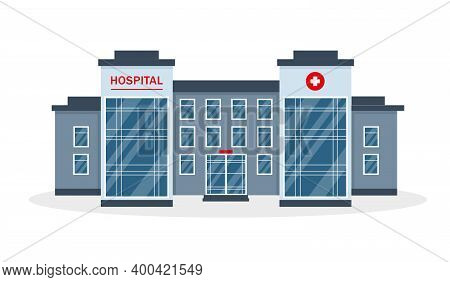 Hospital Building Isolated On White Background. Clinic Or Hospital Exterior. Healthcare, Medical Or