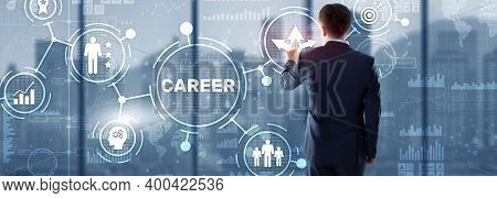 Career Inscription And People Icons On Virtual Screen. Businessman Pressing Career.