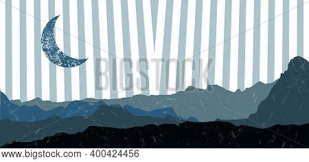 Mid Century Minimalistic Mountains And Moon Background. Minimalist Poster. Abstract Landscape Vector