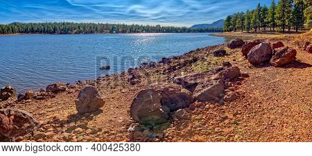 A Boulder Strewn Shoreline On The North Side Of Dogtown Lake Near Williams Arizona.