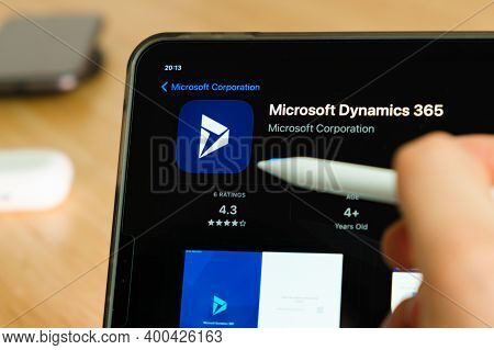 Microsoft Dynamics 365 Logo Shown By Apple Pencil On The Ipad Pro Tablet Screen. Man Using Applicati