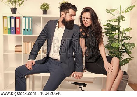 Sexy Secretary And Manager. Office Job Affair. Seductive Colleague. Flirting With Boss. Man And Woma