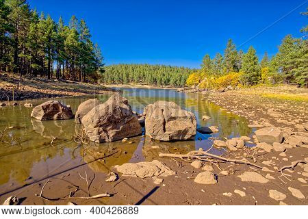 Large Boulders In A Lagoon On The Southwest Side Of Dogtown Lake Near Williams Arizona. This Lagoon