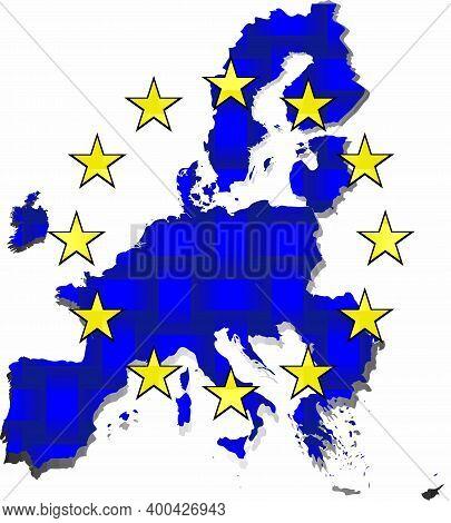 European Union Map - Illustration,  Three Dimensional Flag Of European Union