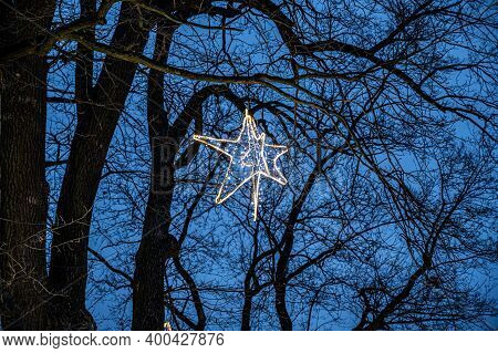 Christmas Decoration On The Tree. Glowing Lamp In The Form Of A Star.