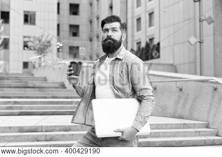 Coffee Break. Social Distancing Era. Guy Going To Work Urban Background. Man With Laptop Walking Emp