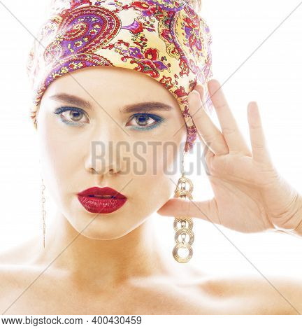 Young Pretty Modern Girl With Bright Shawl On Head Emotional Posing Isolated On White Background Fas