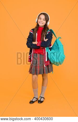 English Kid Backpack. Little Girl Wear School Uniform. Primary, Secondary And Further Education. Edu