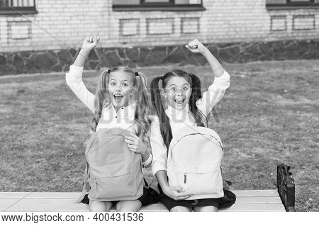 Tradition Of Winners. Happy Winners Celebrate Outdoors. Little Children Make Winning Gestures. Schol