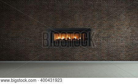 Fireplace On A Brick Wall In Loft Empty Interior Of House.