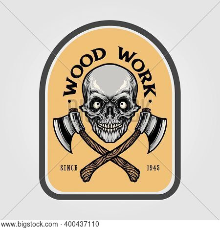 Lumberjack Axe Skull Emblem Illustrations For Your Work Logo Merchandise T-shirt, Stickers And Label