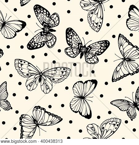 Vector Seamless Polka Dot Pattern With Flying Contour Decorative Butterflies