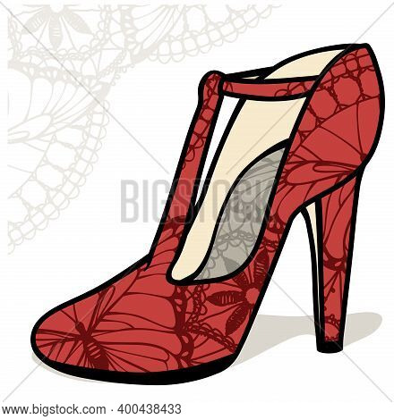 Red Vector Color High Heel Shoe With Lace Print And Lace Backdrop