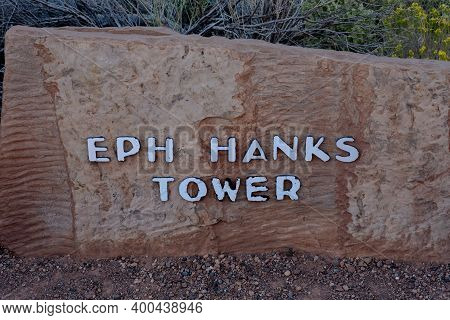 Capitol Reef National Park, United States:eph Hanks Tower Sign In Capitol Reef